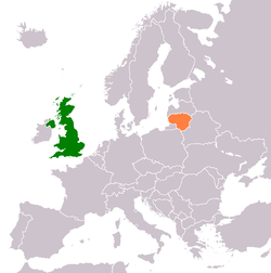 Map indicating locations of United Kingdom and Lithuania