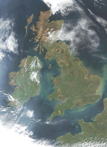Satellite Image of the British Isles (excluding Orkney and Shetland); close to the coast of France