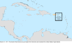 Map of the change to the United States in the Caribbean Sea on March 31, 1917