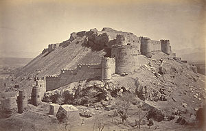 Bala Hissar, Kabul - Upper Bala Hissar from west Kabul in 1879