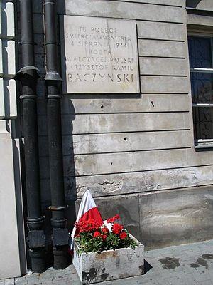 Krzysztof Kamil Baczyński - Stone tablet marking the place of death of Krzysztof Kamil Baczyński
