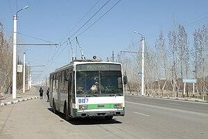 Trolleybuses in Urgench - Škoda 14TrM 007 in Oʻzbekiston (2010).