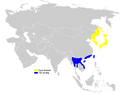 Urosphena squameiceps distribution map.png