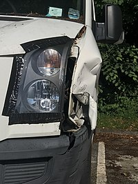 Collision damage to a van in Scotland