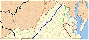 Colony of Virginia - Lines show legal treaty frontiers between Virginia Colony and Indian Nations in various years, as well as today's state boundaries. Red: Treaty of 1646. Green: Treaty of Albany (1684). Blue: Treaty of Albany (1722). Orange: Proclamation of 1763. Black: Treaty of Camp Charlotte (1774). Area west of this line in present-day Southwest Virginia was ceded by the Cherokee in 1775.