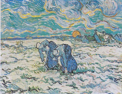 Van Gogh - Zwei grabende Bäuerinnen auf schneebedecktem Feld
