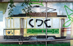 Vandalized mural of tram 24.png