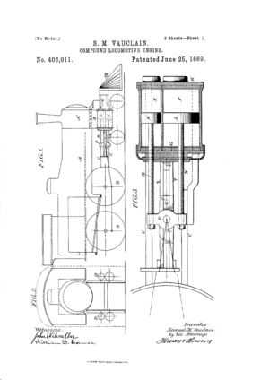 Image from the 1889 U.S. patent issued to cover the Vauclain compound.