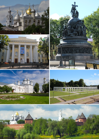 Veliky Novgorod - Counter-Clockwise: the Millennium of Russia, cathedral of St. Sophia, the fine arts museum, St. George's Monastery, the Kremlin, Yaroslav's Court