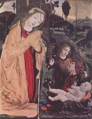 Adoration avec deux anges