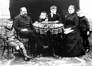 Vesnin brothers - Family photo, around 1890. Left to right: Victor Vesnin Alexander Vesnin (father), Alexander Vesnin Leonid Vesnin Yelizaveta Vesnina (mother) Lidia Vesnina (sister)