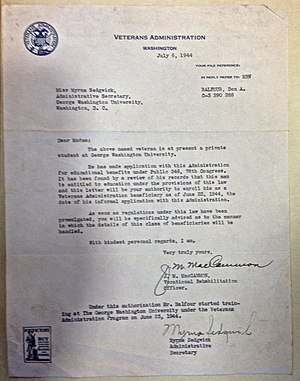 G.I. Bill - Image: Veterans Administration letter for Don A. Balfour, July 6, 1944 GI Bill student at George Washington University