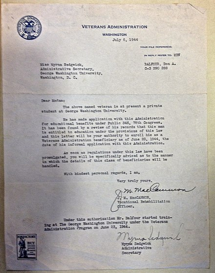 "Don A. Balfour was ""the first recipient of the 1944 GI Bill."" Veterans Administration letter to George Washington University. Veterans Administration letter for Don A. Balfour, July 6, 1944 - GI Bill student at George Washington University.jpg"