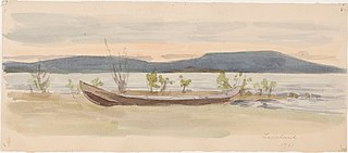 Landscape with boat ashore