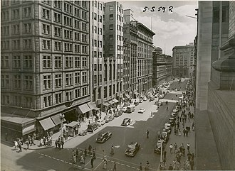 Australia Hotel - Martin Place in the 1950s. The building on the corner to the left is the Commercial Travellers Club Building and the 'modern' twin-wings of the Australia Hotel next to it were demolished in 1971-2 to make way for the MLC Centre.