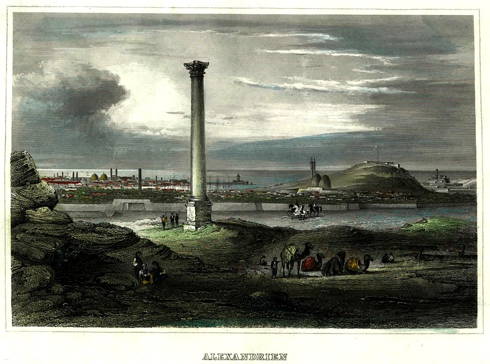 View of Pompey's Pillar with Alexandria in the background in c.1850
