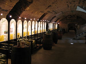 Enoteca - Cellars of the Vinothek in Bernkastel-Kues in the Mosel wine region of Germany