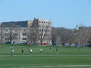 Campus of Virginia Tech - The Drillfield looking towards Newman Library