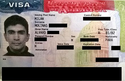 A United States visa issued in 2014