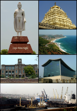 Clockwise from top left: Buddha Statue at Appughar, Simhachalam Temple, Bay of Bengal from Kailasagiri, Rajiv Smrithi Bhavan at Beach Road,  Visakhapatnam Port, King George Hospital (KGH)