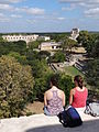 Visitors Look Out from Great Pyramid - Uxmal Archaeological Site - Merida - Mexico.jpg