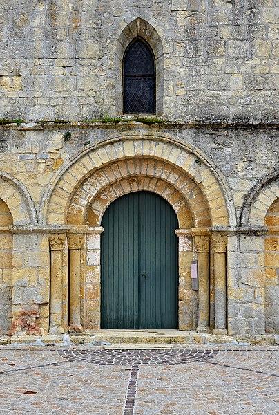 Portal of the romanesque church, Vitrac-Saint-Vincent, Charente, France.
