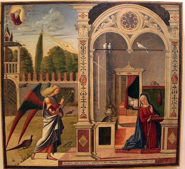 Vittore carpaccio, annunciazione, 1504-08, dalla scuola di Santa Maria degli Albanesi