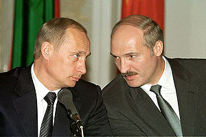 Alexander Lukashenko - Alexander Lukashenko with Russian President Vladimir Putin during a news conference in 2002.