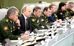 Vladimir Putin in National Centre for management of defence 05.jpg