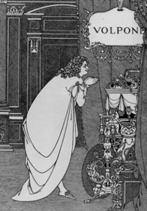 Miser - Aubrey Beardsley's 1898 title page for Ben Jonson's play Volpone