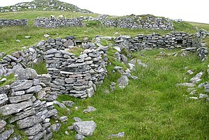 Highland Clearances - Ruined croft houses on Fuaigh Mòr in Loch Roag. The island was cleared of its inhabitants in 1841 and is now used only for grazing sheep.