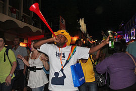 Vuvuzela blower, Final Draw, FIFA 2010 World Cup.jpg