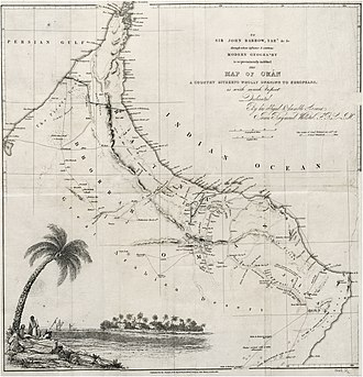 Al Batinah Region - Image: WELLSTED(1838) p 1.027 MAP OF OMAN (retouched)