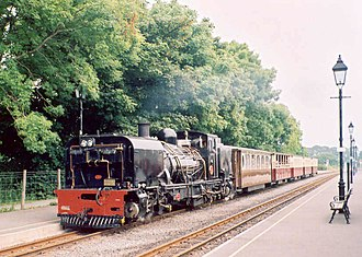 Dinas railway station - Welsh Highland train to Waunfawr at Dinas 2003