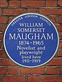 WILLIAM SOMERSET MAUGHAM 1874-1965 Novelist and playwright lived here 1911-1919 - Blue Plaque.JPG