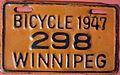 WINNIPEG MANITOBA 1947 -BICYCLE PLATE - Flickr - woody1778a.jpg