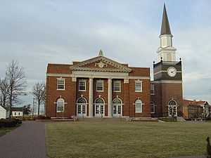 Liberty, Missouri - Gano Chapel from the Quad in 2004 after the clock tower had been repaired following the 2003 tornado.