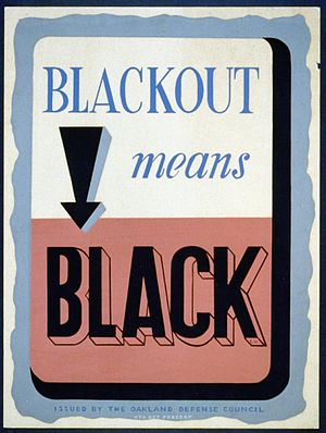 Blackout (wartime) - American poster from World War II, reminding citizens of blackouts for civil defense.