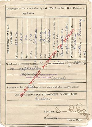 Demobilization - Back page of demob papers issued to a South African sailor in February 1946