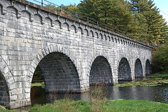 Wachusett Aqueduct - Wachusett Aqueduct at Northborough spanning over the Assabet River