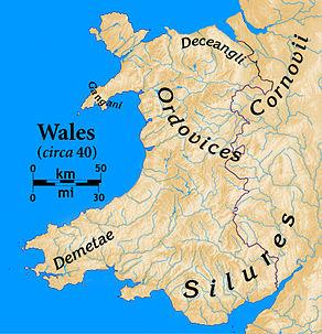 Karte von Wales, die Namen der keltischen britischen Stämme in ihren Gebieten zeigen