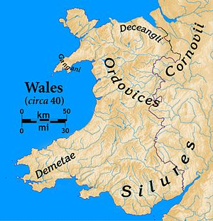 Demetae - Tribes of Wales at the time of the Roman invasion. The modern Anglo-Welsh border is also shown, for reference purposes.