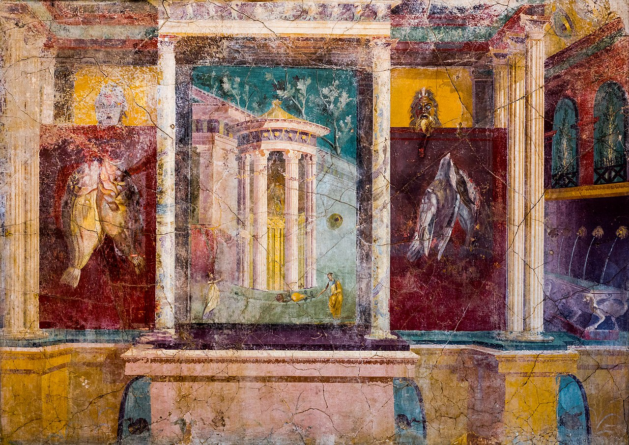 Wall painting - entrance to a sanctuary with tholos - Pompeii (VI 41 Insula Occidentalis) - Napoli MAN 8594 - 01.jpg