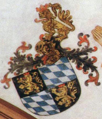 Palatine Lion - Coat of arms of Electoral Palatinate, with helmet and Palatine lions as crest; Collegiate Church of Neustadt an der Weinstraße, around 1420