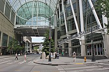 Washington State Convention Center skybridge and lobby from 7th Avenue.jpg