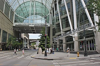 Washington State Convention Center - The convention center's entrance and skybridge, seen from Pike Street and 7th Avenue
