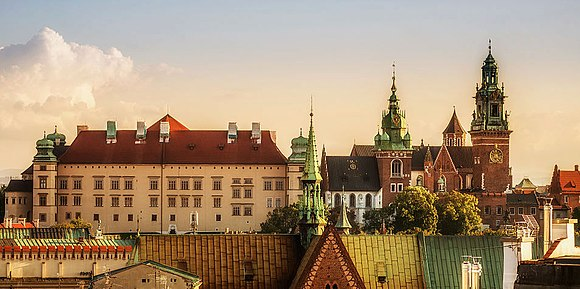 Wawel Castle in Krakow, seat of Polish kings from 1038 until the capital was moved to Warsaw in 1596. The royal residence is an example of Renaissance architecture in Poland. Wawel (crop).jpg