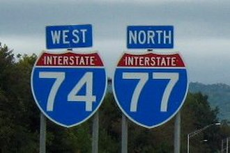 Interstate 74 in North Carolina - Image: Wb 74nb 77cropped