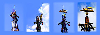 Gin pole - A gin pole being used to install  a weather vane atop the 200 foot steeple of a church in Kingston, New York.