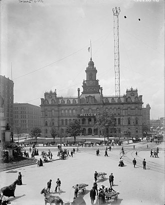Moonlight tower - In front of City Hall, Detroit, Michigan, about 1900
